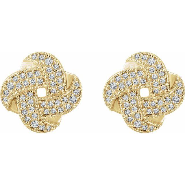 14K Yellow 1/3 CTW Diamond Knot Earrings