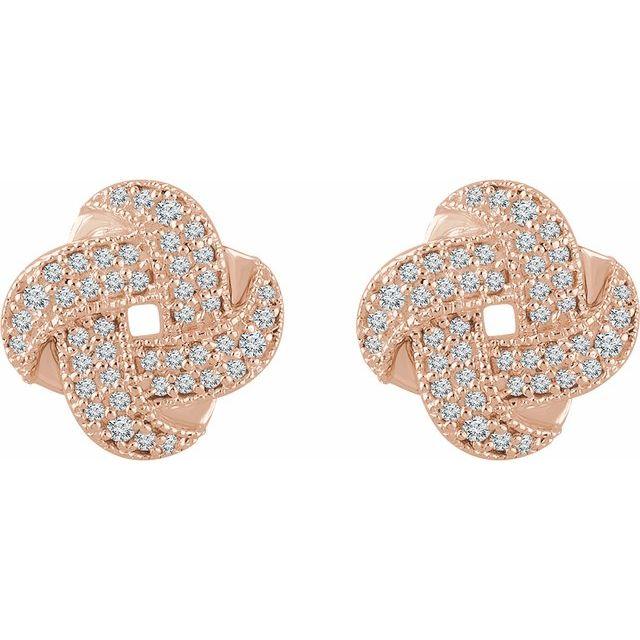 14K Rose 1/3 CTW Diamond Knot Earrings