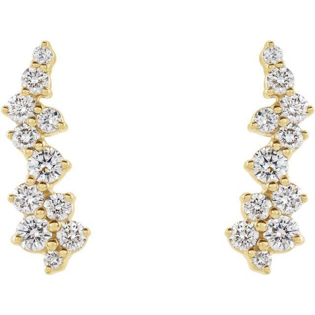 14K Yellow 3/8 CTW Diamond Ear Climbers