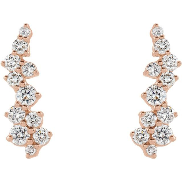 14K Rose 3/8 CTW Diamond Ear Climbers