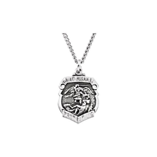 Sterling Silver 16.5x14 mm St. Michael Medal 18