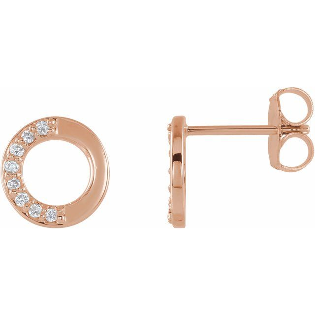 14K Rose .08 CTW Diamond Circle Earrings