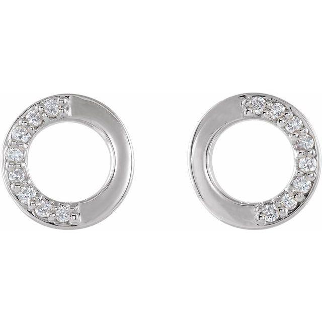 14K White .08 CTW Diamond Circle Earrings