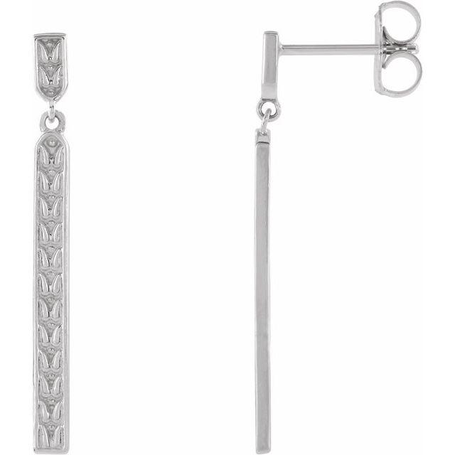 Platinum 29x2.4 mm Sculptural Bar Earrings