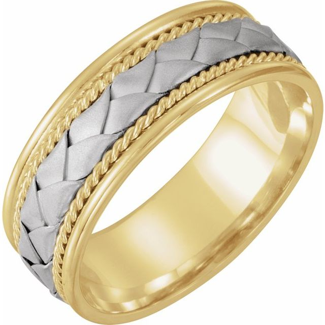 14K Yellow & White 8 mm Woven-Design Band  Size 6.5