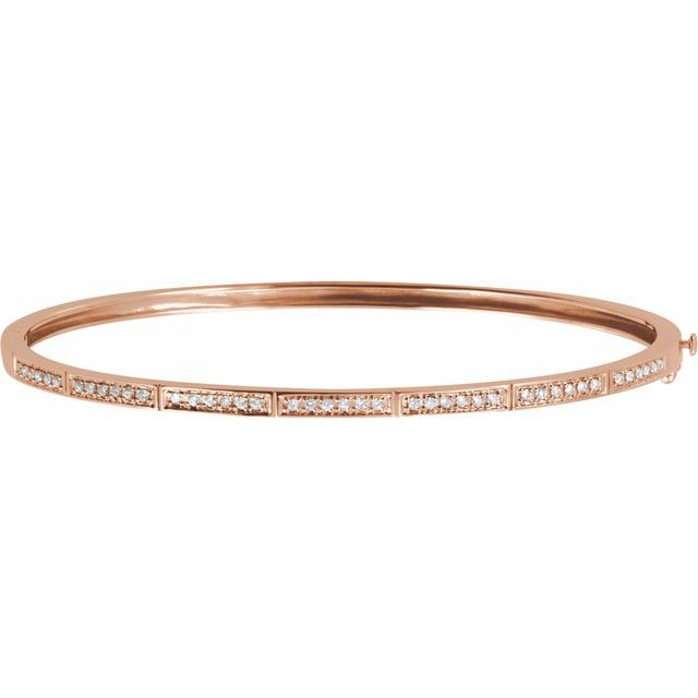 14K Rose 1/3 CTW Diamond Bangle Bracelet