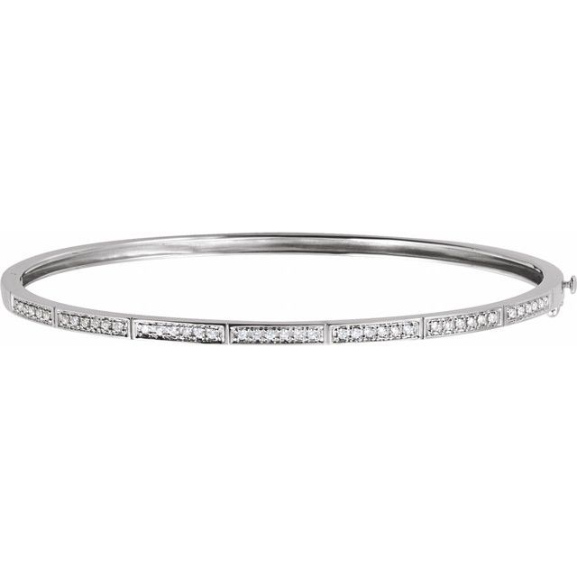 14K White 1/3 CTW Diamond Bangle Bracelet