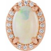 Oval 4-Prong Halo-Style Cabochon Earring Setting