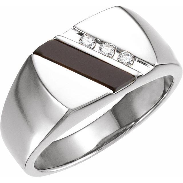 14K White Onyx & 1/10 CTW Diamond Ring