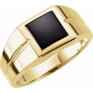 14K Yellow 8 mm Square Onyx Ring