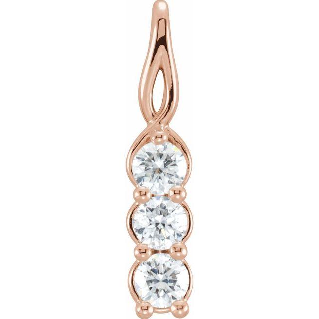 14K Rose 1/3 CTW Diamond 3-Stone Pendant