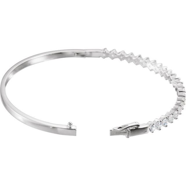 Sterling Silver 3 mm Round Cubic Zirconia Bangle 8
