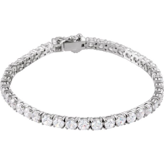 Sterling Silver 4 mm Round Cubic Zirconia Line 7