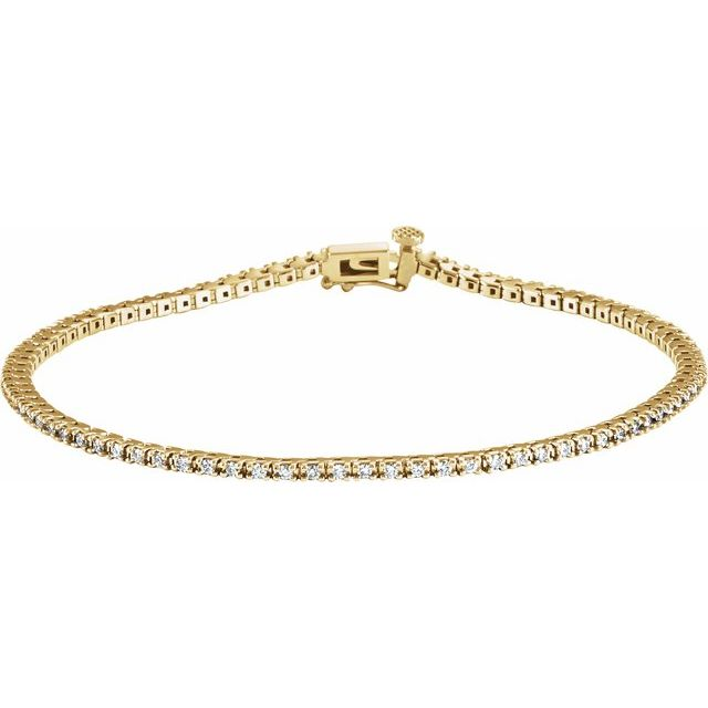 "14K Yellow 7/8 CTW Lab-Grown Diamond Line 7 1/4"" Bracelet"