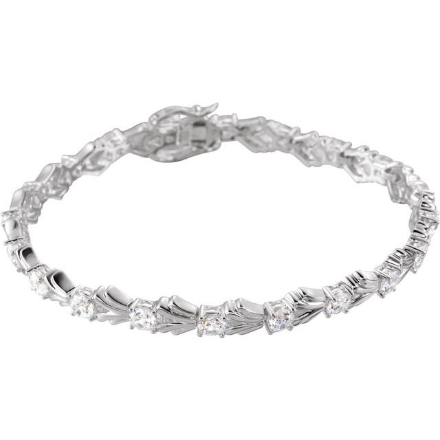 "Sterling Silver 4 mm Round Cubic Zirconia Line 7.5"" Bracelet"