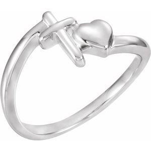 14K White Cross & Heart Chastity Ring