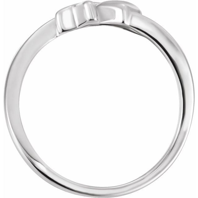 Sterling Silver Cross & Heart Chastity Ring