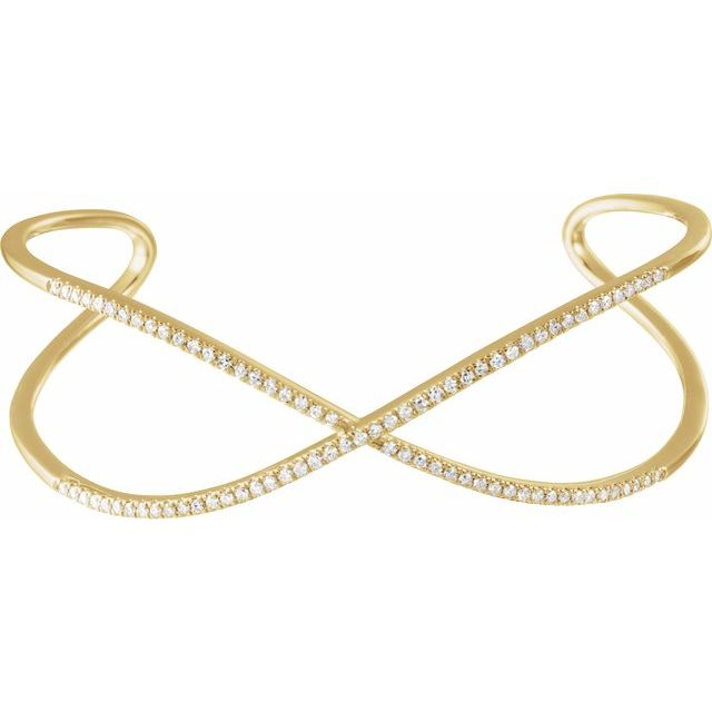 14K Yellow 3/4 CTW Diamond Criss-Cross Cuff 7