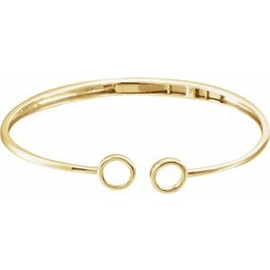 "14K Yellow Hinged Circle Cuff 7"" Bracelet"