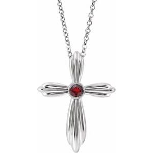 "Sterling Silver Mozambique Garnet Cross 16-18""  Necklace"