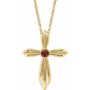"14K Yellow Mozambique Garnet Cross 16-18"" Necklace"