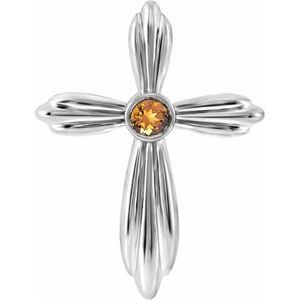14K White Citrine Cross Pendant