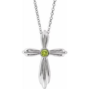 "Sterling Silver Peridot Cross 16-18"" Necklace"