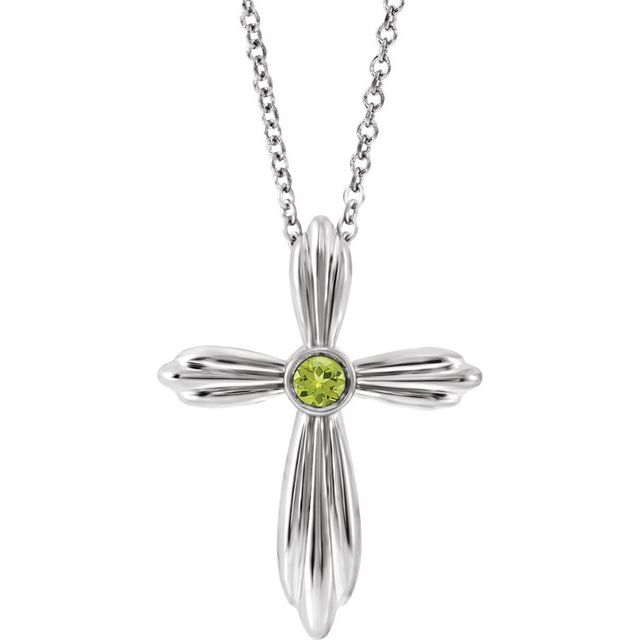 14K White Peridot Cross 16-18