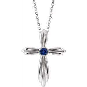 "14K White Blue Sapphire Cross 16-18"" Necklace"