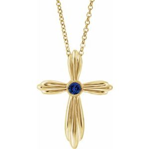 "14K Yellow Chatham® Lab-Created Blue Sapphire Cross 16-18"" Necklace"