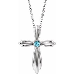 "Sterling Silver Blue Zircon Cross 16-18"" Necklace"