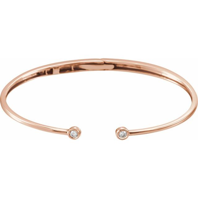 14K Rose 1/6 CTW Diamond Hinged Cuff Bracelet
