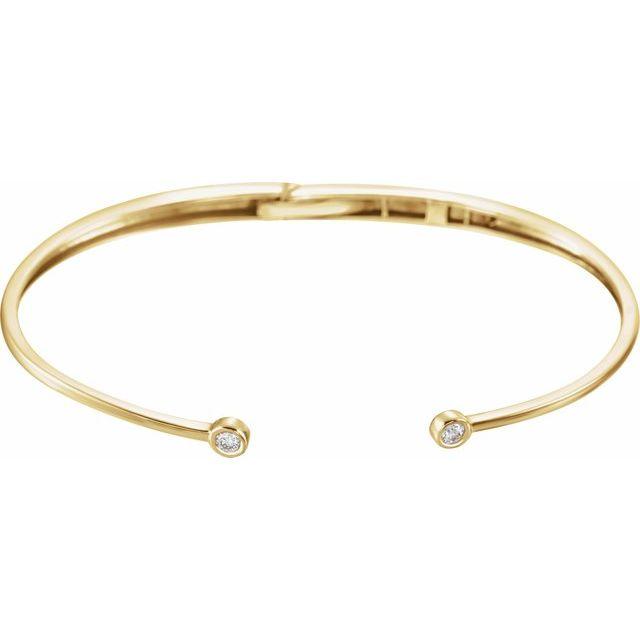 14K Yellow 1/6 CTW Diamond Hinged Cuff Bracelet