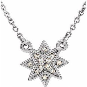 "14K White .04 CTW Diamond Star 16-18"" Necklace"
