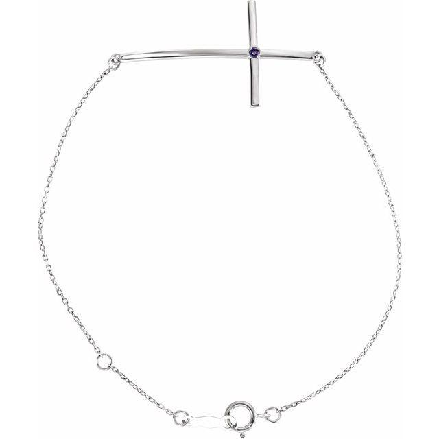 Sterling Silver Imitation Amethyst Sideways Cross Bracelet