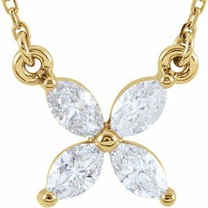 "14K Yellow 1/2 CTW Diamond Floral-Inspired 16"" Necklace"
