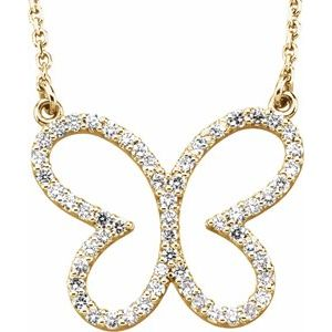 """14K Yellow 1/4 CTW Diamond Butterfly 16"""" Necklace"""