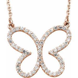 """14K Rose 1/4 CTW Diamond Butterfly 16"""" Necklace"""