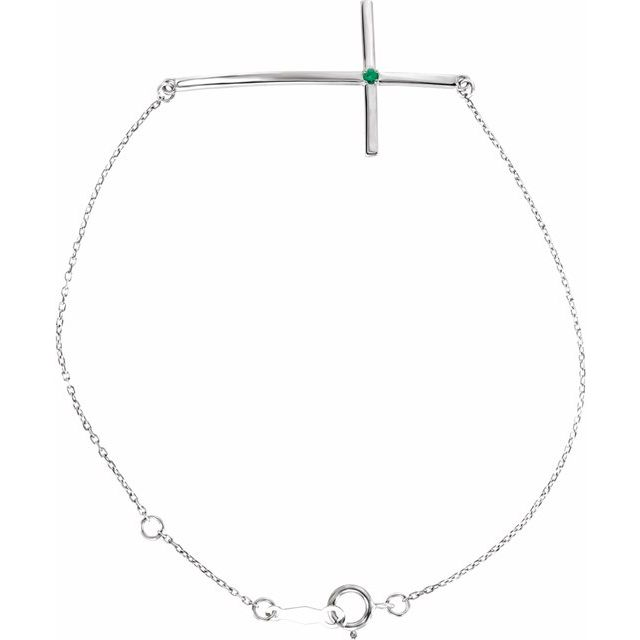 Sterling Silver Imitation Emerald Sideways Cross Bracelet