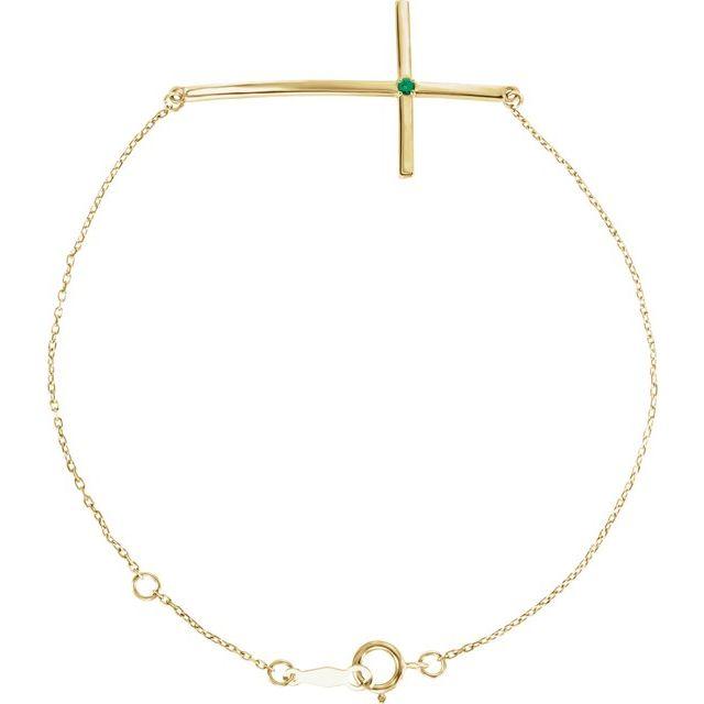 14K Yellow Emerald Sideways Cross Bracelet