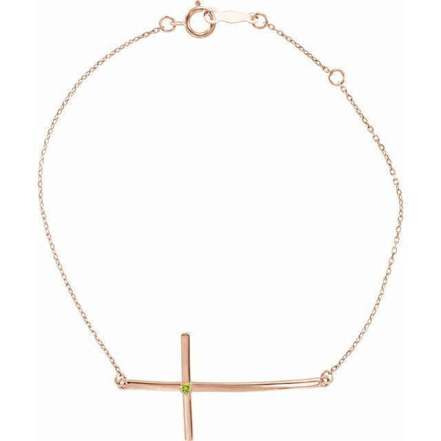 14K Rose Peridot Sideways Cross Bracelet
