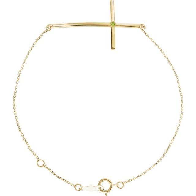 14K Yellow Peridot Sideways Cross Bracelet