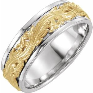 14K White/Yellow 7 mm Sculptural-Inspired Band Size 11