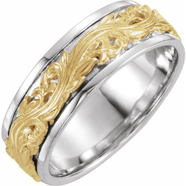 14K White/Yellow 7 mm Sculptural-Inspired Band Size 8.5