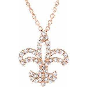 """14K Rose 1/6 CTW Diamond Fleur De Lis 16"""" Necklace"""