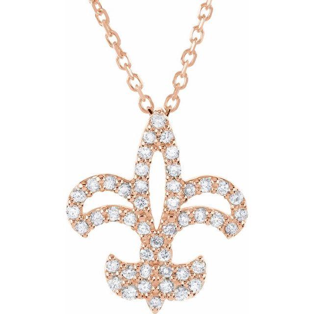 14K Rose 1/5 CTW Diamond Fleur De Lis 16