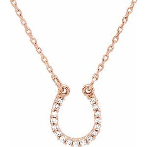 """14K Rose .07 CTW Diamond Horseshoe 16"""" Necklace"""