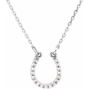 "14K White .07 CTW Diamond Horseshoe 16"" Necklace"