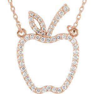 "14K Rose 1/5 CTW Diamond Apple 16"" Necklace"
