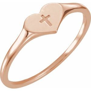 14K Rose Heart & Cross Ring Size 3